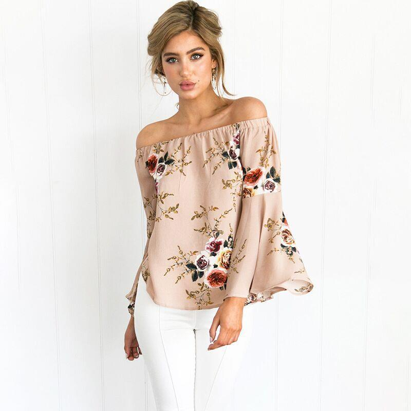 3da1f08b36dec 2019 2017 Summer Women Chiffon Blouses Off Shoulder Slash Neck Tops Bell  Long Sleeve Female Ruffled Floral Print Sexy Loose Shirts From Colosseum