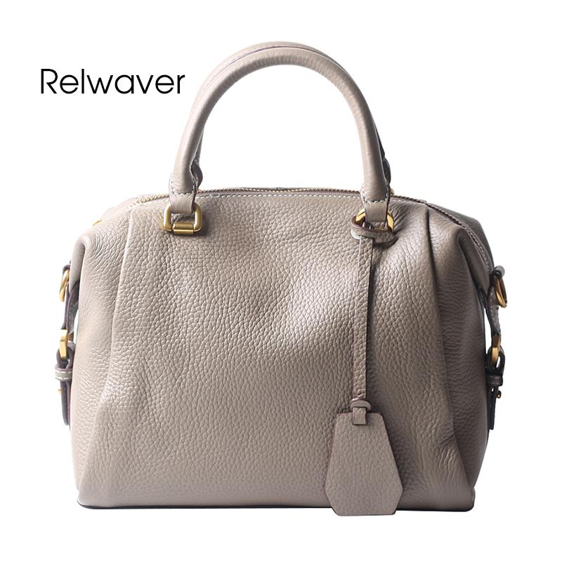 5b6a039c6b Relwaver Women Genuine Leather Handbags Casual Natural Cow Leather Shoulder Bag  Soft Boston Tote Bag Women Handbags Handmade Leather Bags Totes Bags From  ...