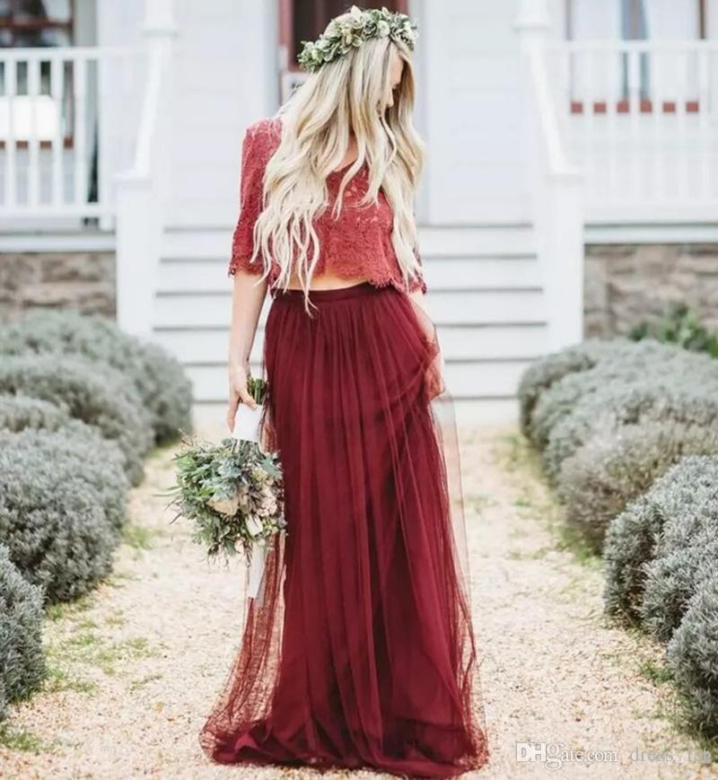 2019 Bohemian Dark Red Wine Two Pieces Bridesmaid Dresses Long V Neck Half Sleeves Lace and Tulle Modern Wed Maid Of Honor Dresses