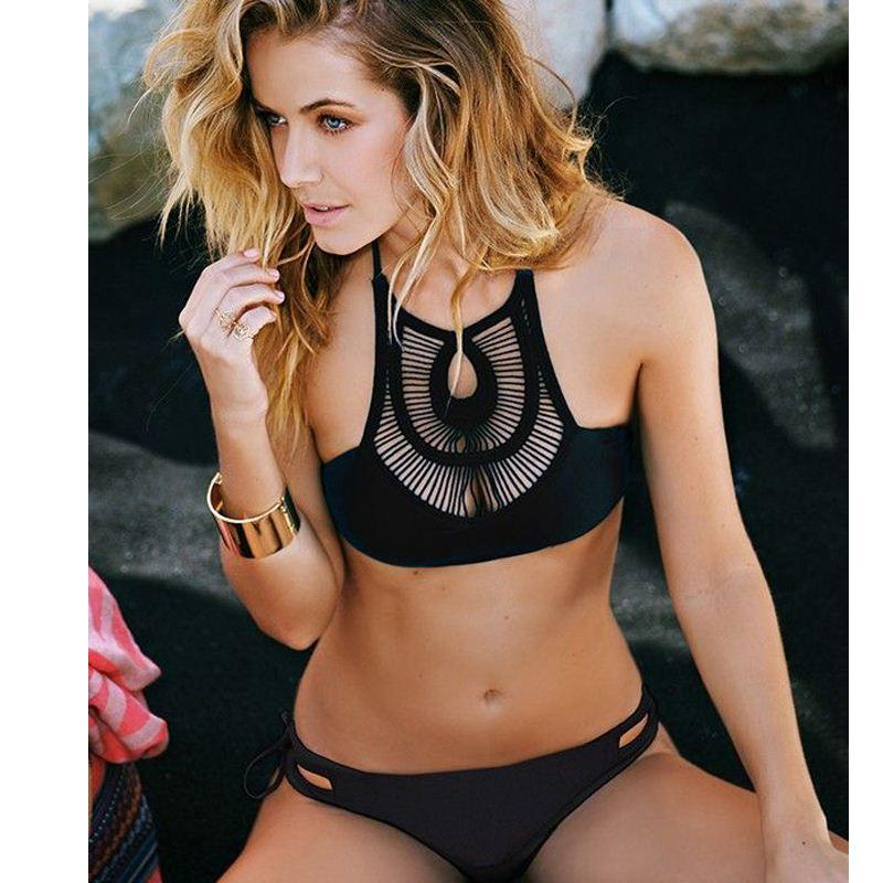 f1a6c9a1985e3 2019 Solid Black Bathing Suit High Neck Padded Hollow Out Halter Bikini  Sets Crochet Swimsuit Cut Out Bandage Swimwear Biquinis 1958 From  Lin_and_zhang, ...