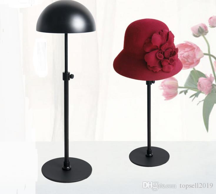 Black Metal Hat Display Stand Rack Adjustable Hat Holder Cap Wig Exhibition For Boutique Store Free Shipping SN680
