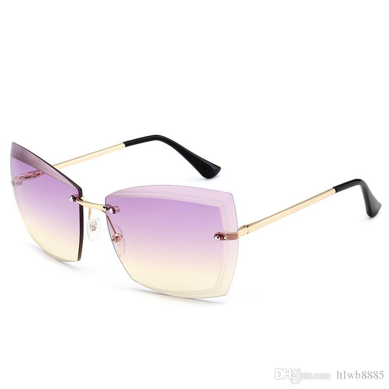 9d8c45840f 2018 Luxury Vintage Rimless Sunglasses Women Brand Designer ...