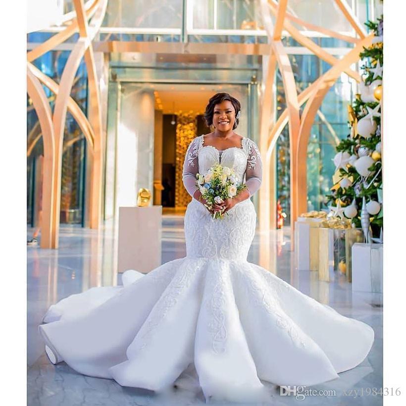 Wunderschöne Südafrika Hochzeitskleid Sparkle Pailletten Perlen Spitze Applique Langarm Brautkleid Sonderanfertigte Plus Größe Meerjungfrau Hochzeitskleid