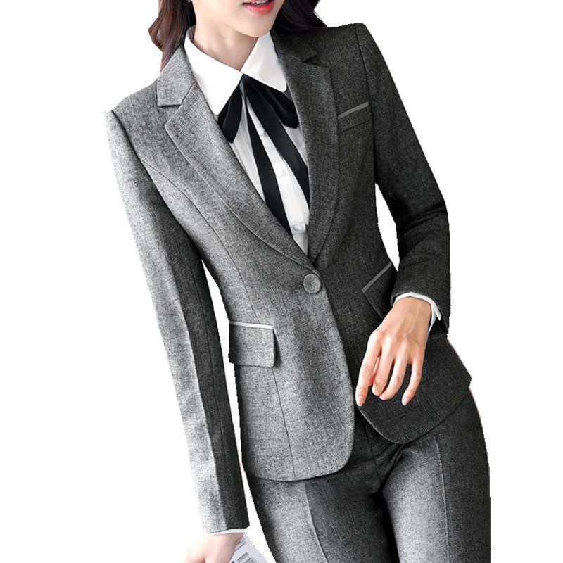 2019 2018 Women Office Trousers Suit Winter Jacket Blazer Long