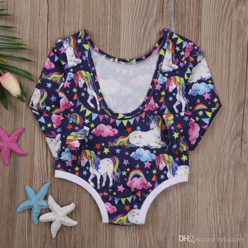 Lovely baby girl unicorn romper long sleeve onesies jumpsuit kid clothing toddler girls lovely bodysuit party dress