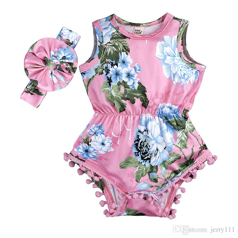 Yenidoğan kız giysileri yaz çiçek romper tulum onesies Bandı çocuk giyim butik kıyafetler bebekler kız toddler 0-24 M LC824