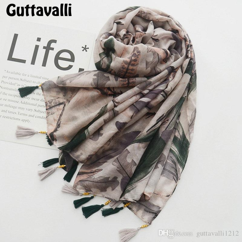 Guttavalli Women Coffee Feathers Tassels Long Shawl Female Cotton Wood Beads Scarf Bohemia Fashion Animals Chevron Soft Scarves