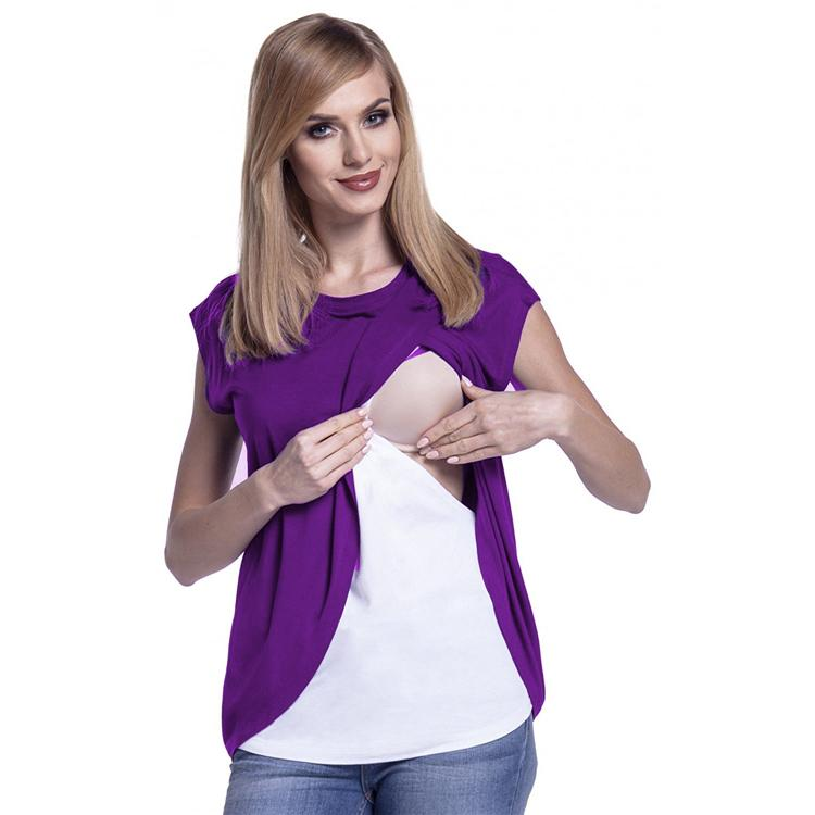 9565a2726e1 2019 Two Layers Maternity Nursing Tops For Pregnant Women Breastfeeding  Pregnancy LactationT Shirt Fashion Maternity Clothing From Dejavui, $21.07  | DHgate.