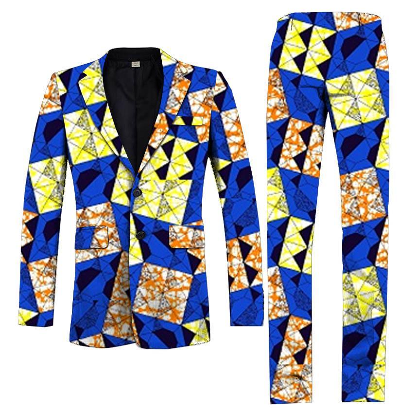 Compre Ropa Africana Hecha A Mano Del Hombre Blazers Estampados Africanos +  Pantalones 2 Piezas Conjunto Hombres Blazers Traje Pantalones Chaquetas De  Traje ... 2c8dcd046e3