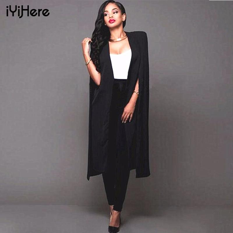 49b8247078 2019 Autumn Thin Cloak Cape Blazer Women Coat Sexy Split Solid Long Casual  Coats Tops Blazers Suits Office Jacket Feminino Pluse Size From Salom, ...