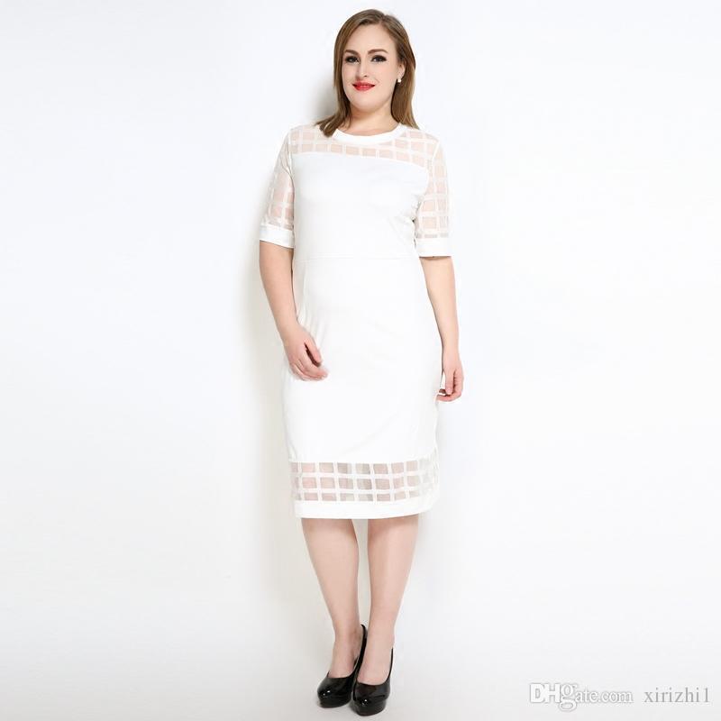 b8600b444f04 Acquista Abito Estivo Europeo Donna Plus Size Abito Manica Corta Midi Nero  Fat Women Plaid Mesh One Piece Dress A  25.48 Dal Xirizhi1