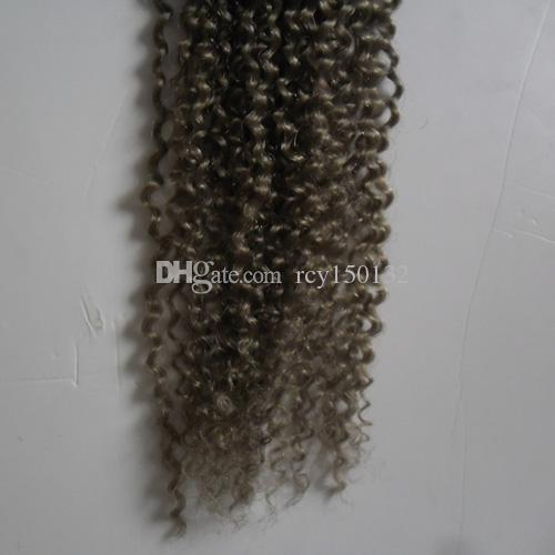 Kinky Curly 1B Ombre Grey Hair Weave 10-28inch 1 Bundle 100% Human Hair Weave non Remy Gray Color