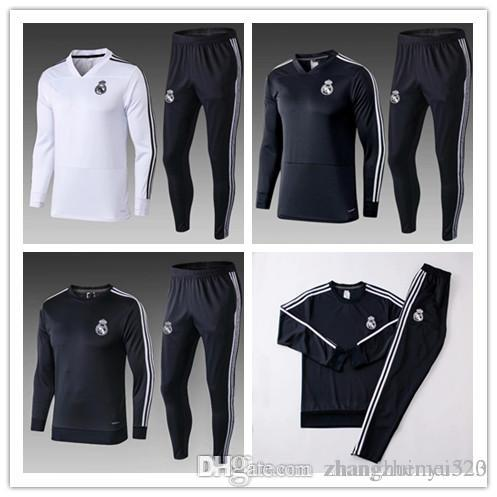 TOP THAI QUALITY new 2018 19 Real Madrid men's soccer chandal white football tracksuit 18 19 adult training suit skinny pants Sportswea