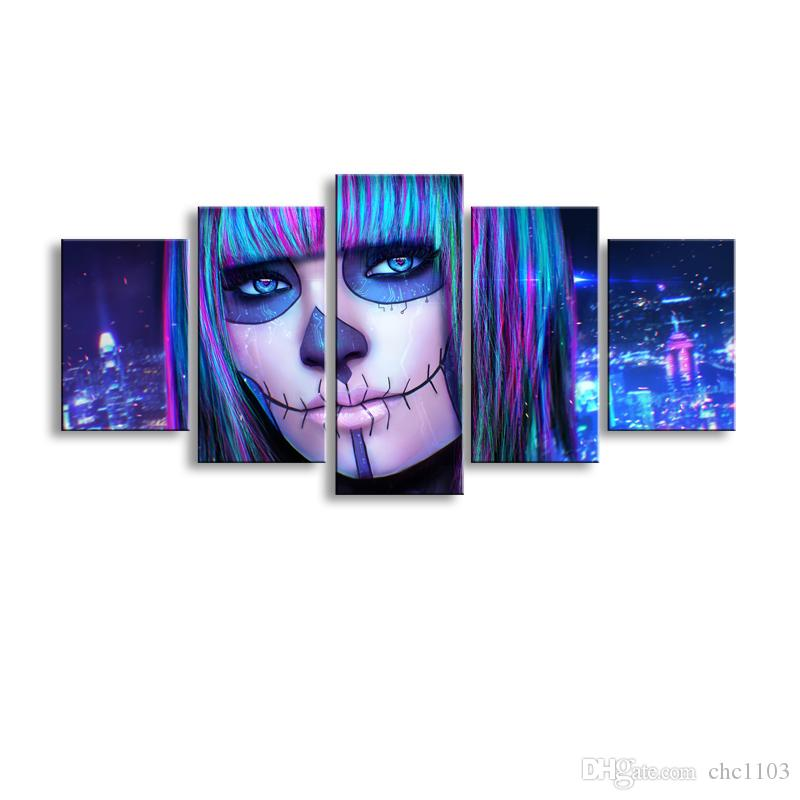 5 pieces high-definition print Dead Face canvas painting poster and wall art living room picture RW-072