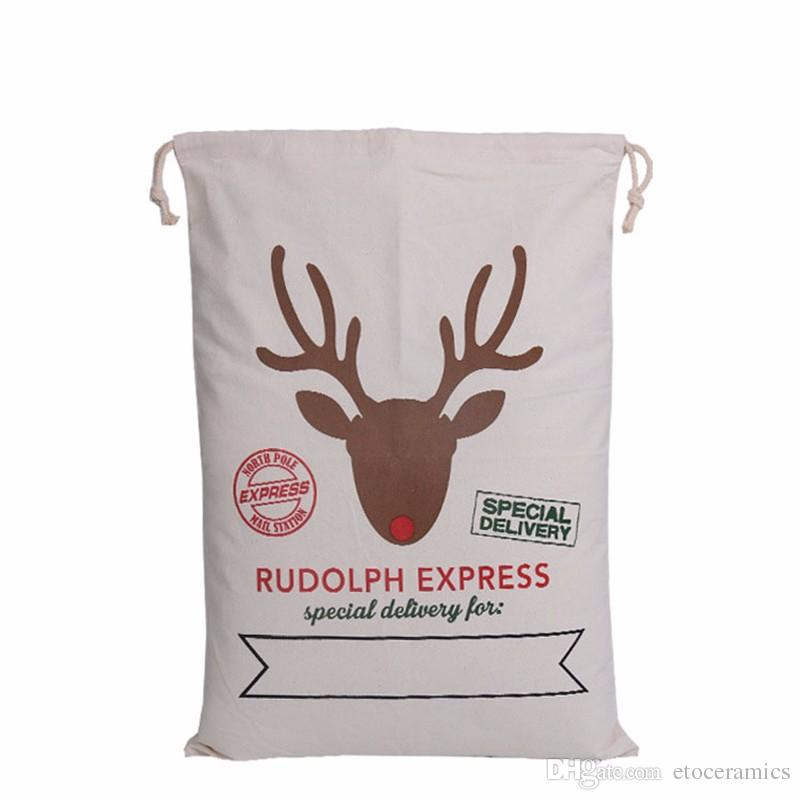 Christmas Gift Bags Large Organic Heavy Canvas Bag Santa Sack Drawstring Bag With Reindeers Santa Claus Sack Bags for kids