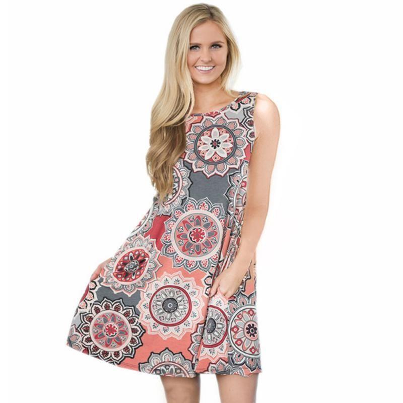2018 Fashion Women  Summer Bohemian Dress Plus Size Loose Dress Floral  Printed Sleeveless Tunic Mini A Line Beach Dress Cocktail Wear For Women  Floral Maxi ... a2a9e4b526bf