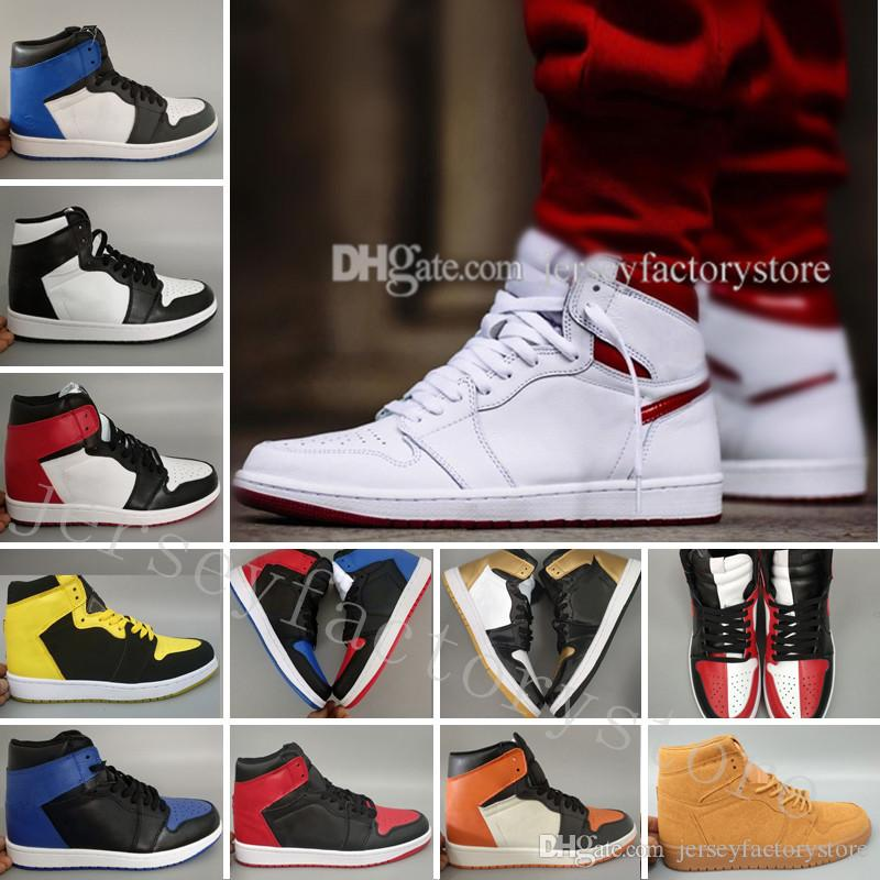 new product 708a2 66bed Acheter 1 Top 3 Hommes Chaussures De Basket Ball Blé Or Bred Toe Chicago  Banned Bleu Royal Bleu Métallique Fragment UNC Shattered Baskets Sneakers  De  91.75 ...