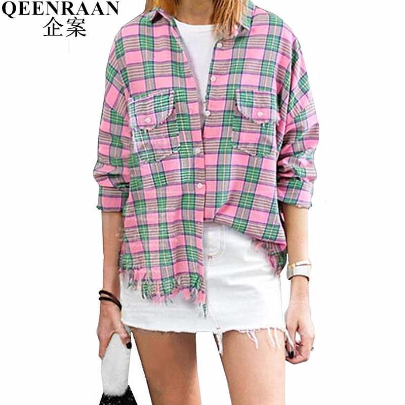 ecca1dbd921 2019 2018 New Street Women Top Blouse Plus Size M XXXL Loose Tassel Pink  Plaid Blouse Shirt Spring Womens Tops Blouses Blusa Feminina From Zanzibar