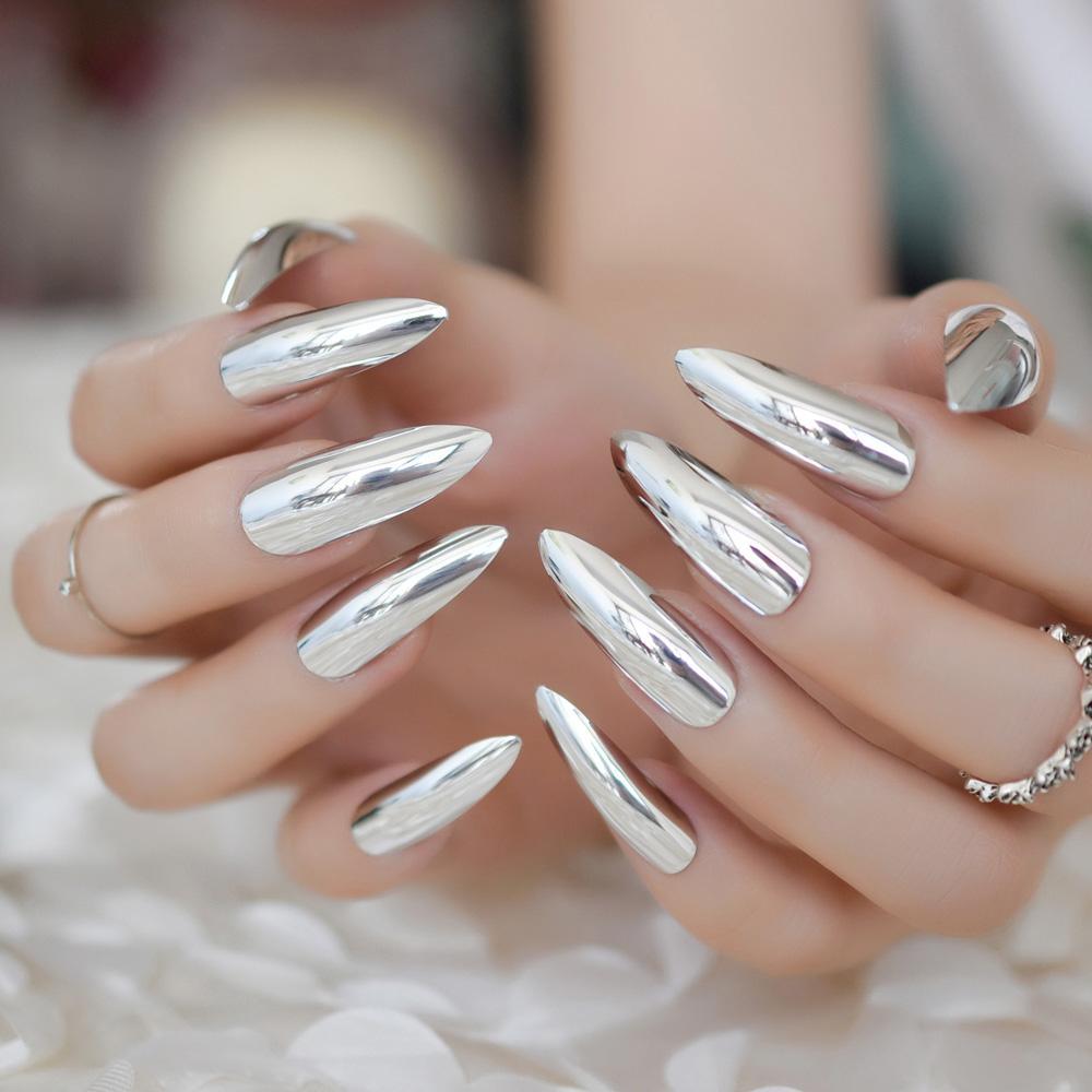 Metallic Stiletto Extra Long Silver Nails Mirror Effect Nail Ladies ...