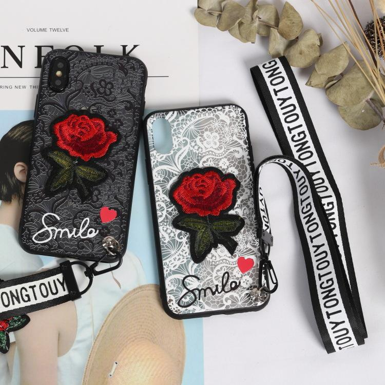 lowest price 22772 9ca35 Phone Case With 2 Straps Luxury Phone Case Fashion Embroidered Rose Lace 2  pcs Short Long Straps For Iphone X 7 8 L TPU Shell Phone Cover