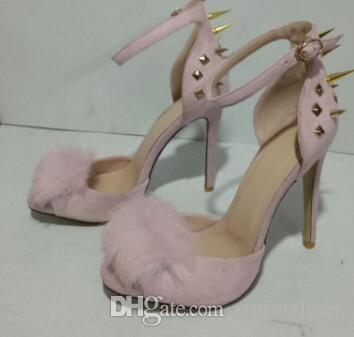 2018 High-heeled sandals Metal decoration spike stud sandals Women shoes buckle high heels party shoes rivets stud sandals