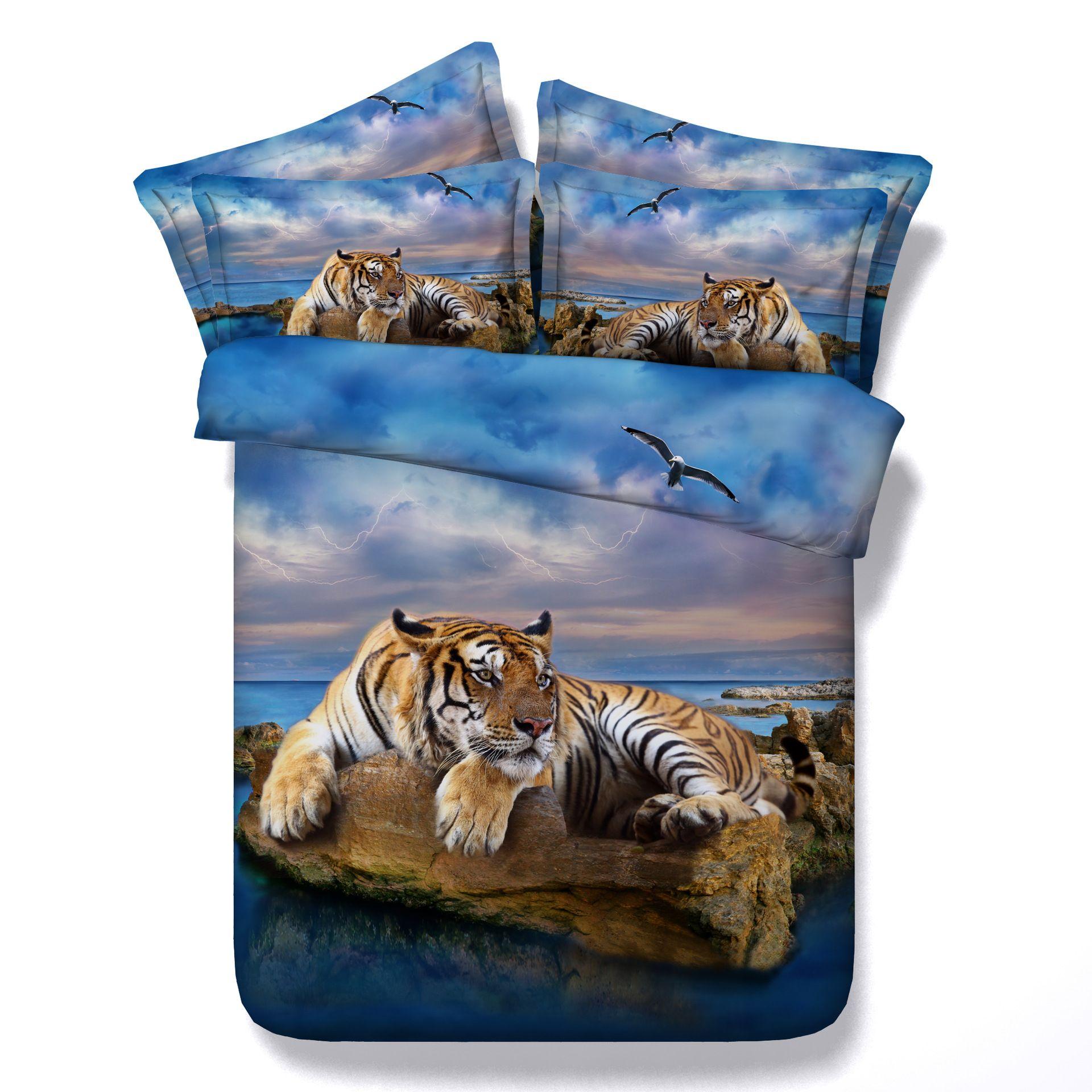 Großhandel Ozean Strandthema Tigerbettwäsche 3d Setzt