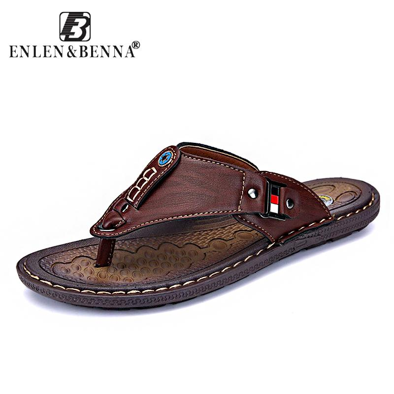 bea2f152eef303 2018 Brand Summer Beach Flip Flops Men Pu Leather Slippers Male Flats  Sandals Outdoor Rubber Thong Beach Shoes Men Leather New Massage Massages  Massager Man ...