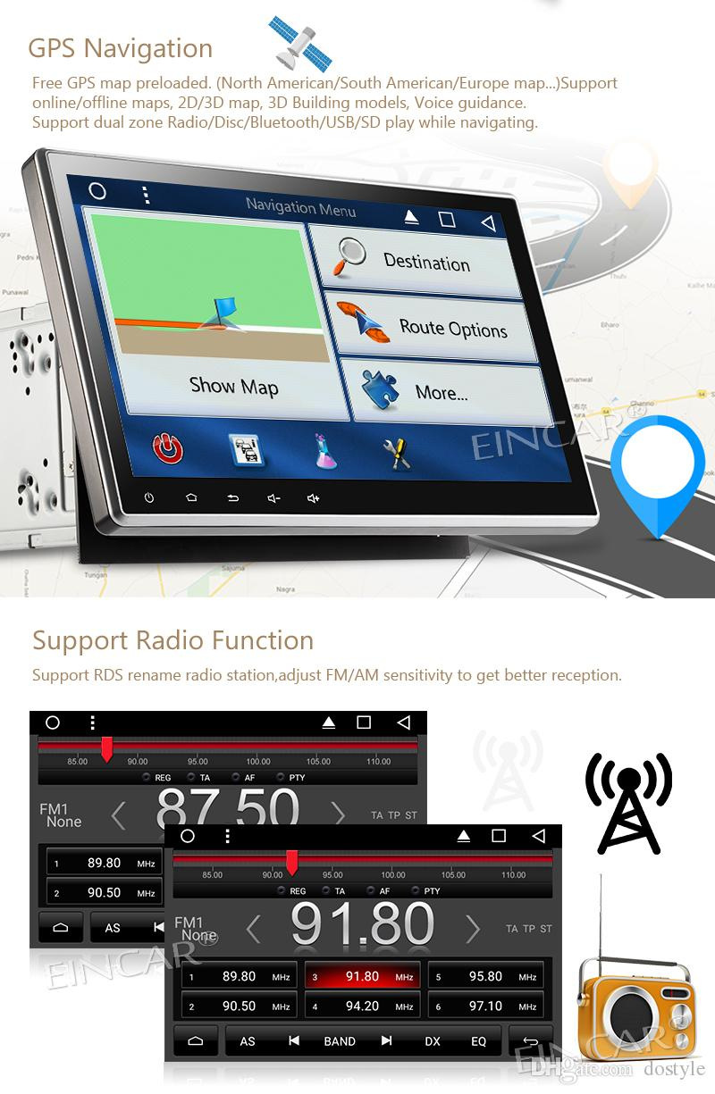 10.1'' Adjustable Angle Double Din Car DVD Player Radio Stereo Android 7.1 headunit Autoradio Bluetooth Support WIFI GPS Navigation OBD2