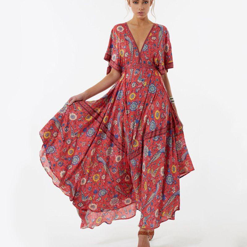 c48338e1c1 ... Vestido Largo De 2018 Vestido Largo De La Flor De Bohemia Vestido Largo  Étnico Atractivo De La Impresión En V Profunda Del V Cuello De La Playa  Vestidos ...