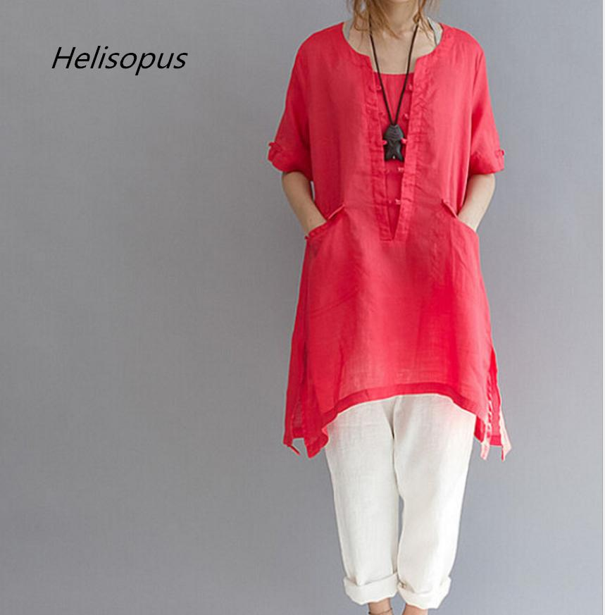 6683f30615d14 2019 Helisopus Plus Size Blouse Shirt Women Summer Loose White Shirt Female  Cotton Linen Half Sleeve Ladies Casual Long From Houmian