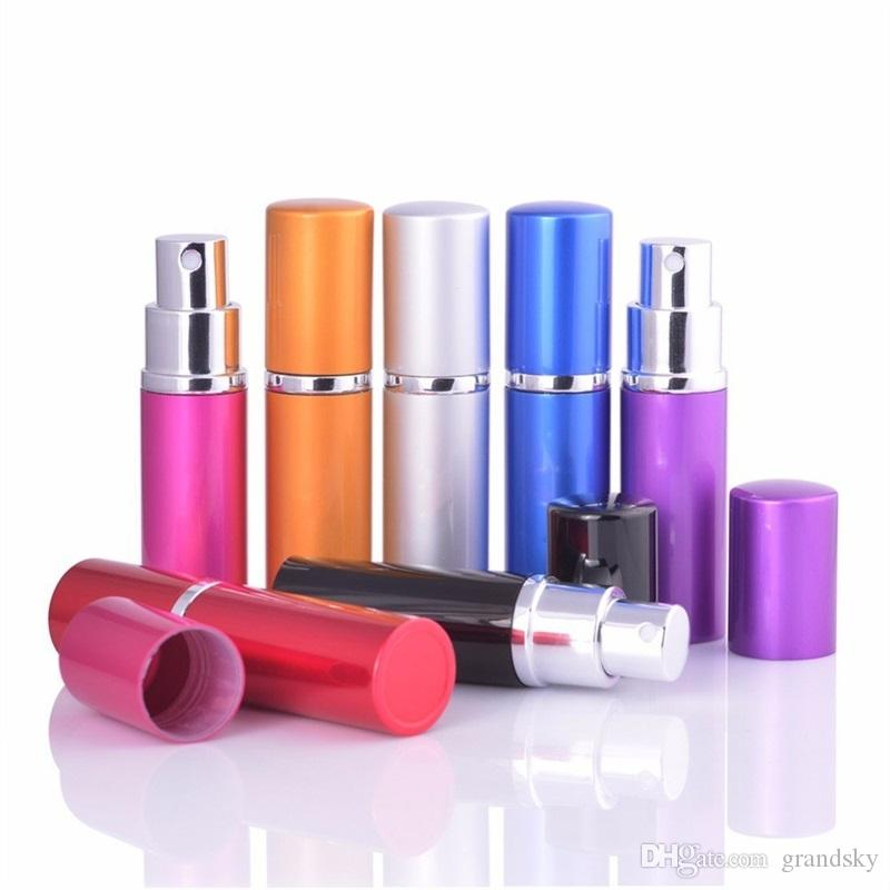 Preço de atacado 5 ml Mini Frasco de Perfume Spray de Viagem Recarregáveis Vazio Recipiente Cosmético Garrafa de Perfume Atomizador de Alumínio Recarregável Garrafas