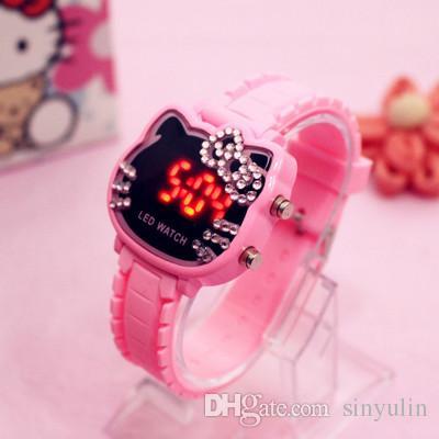 2018 Hot LED reloj para niños hello kitty Diamond reloj digital KT Cat Candy Color Pink Girl Caton estudiante relojes