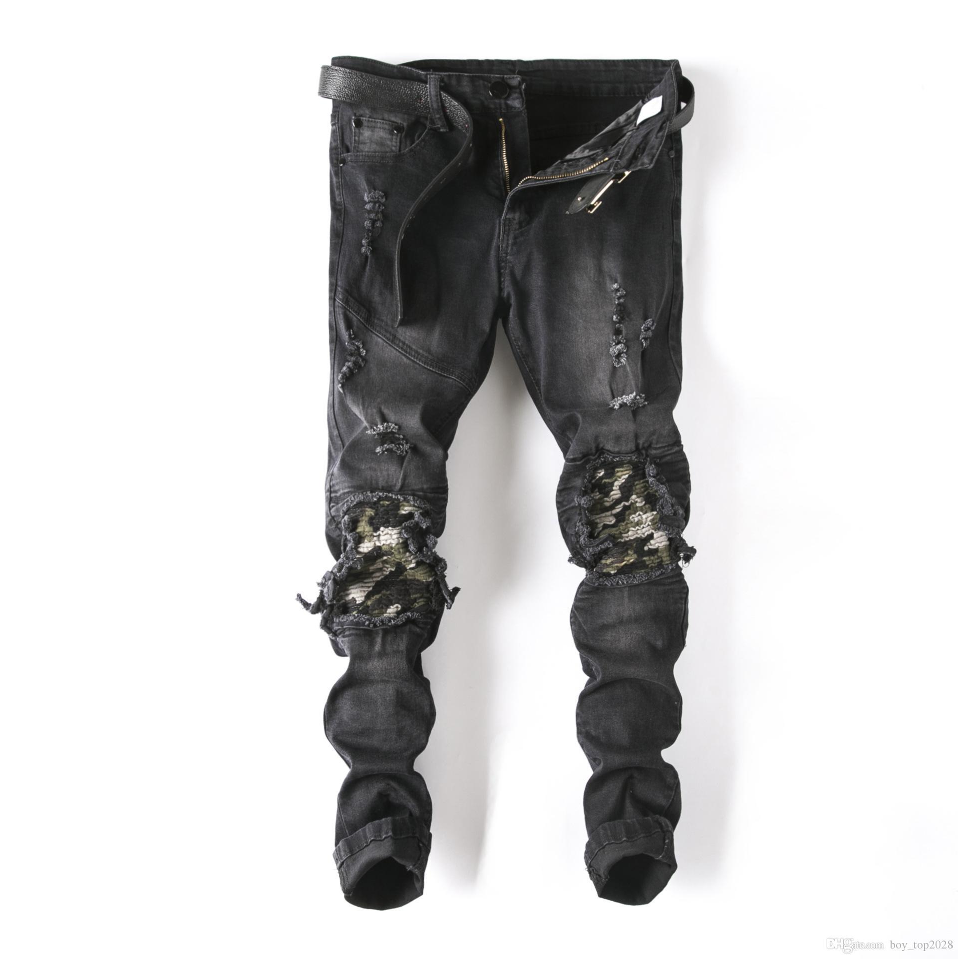 Лучшие 2018 мотоцикл мужские джинсы тонкое отверстие мода качество камуфляж цвет байкер джинсы тонкий прямые джинсы