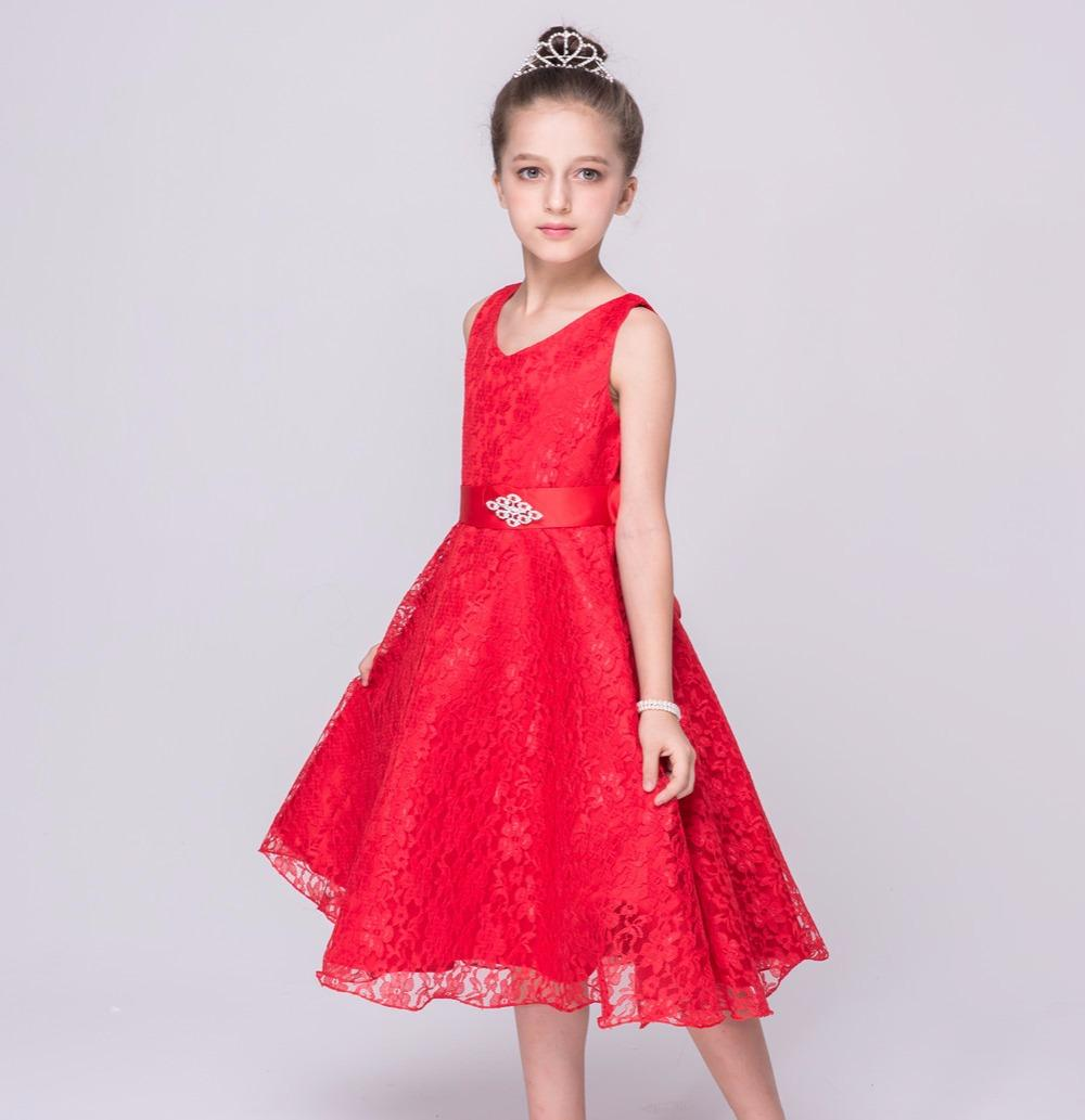 Kids Girls Wedding Flower Girl Dress Princess Party Pageant Formal Dress for Teenager Girl 2-12 Years Wear