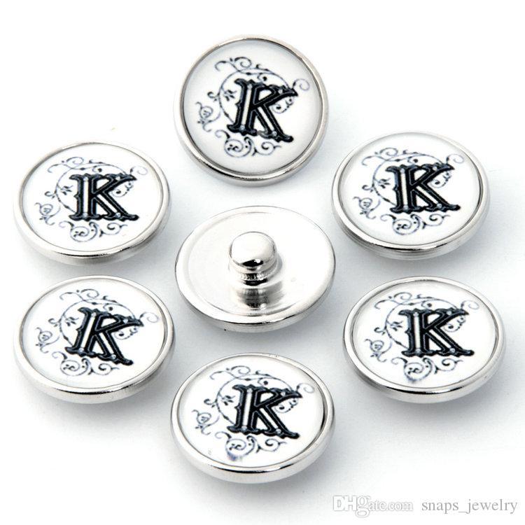 26 Lettere Inglese Stile Noosa Snap Jewelry Bear's-zampa Bottoni di vetro fai da te Snap Fit 18mm Braccialetti a scatto Braccialetti Braccialetti