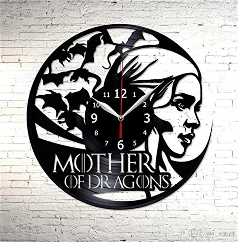 Game And Thrones Vinyl Wall Clock Simple Modern Home Decor Crafts Creative  Handmade Gifts Office Wall Art Decoration Black Quartz Clock 24 Wall Clock  24 ...