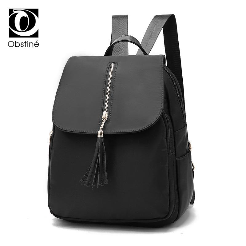 ba14d6b9a8a0 Fashion Women Backpack Waterproof Nylon Casual Shoulder Bags For Girls  Black Daypack Female Travel Bagpack Womens Backpacks Bag Black Backpack  Camera ...