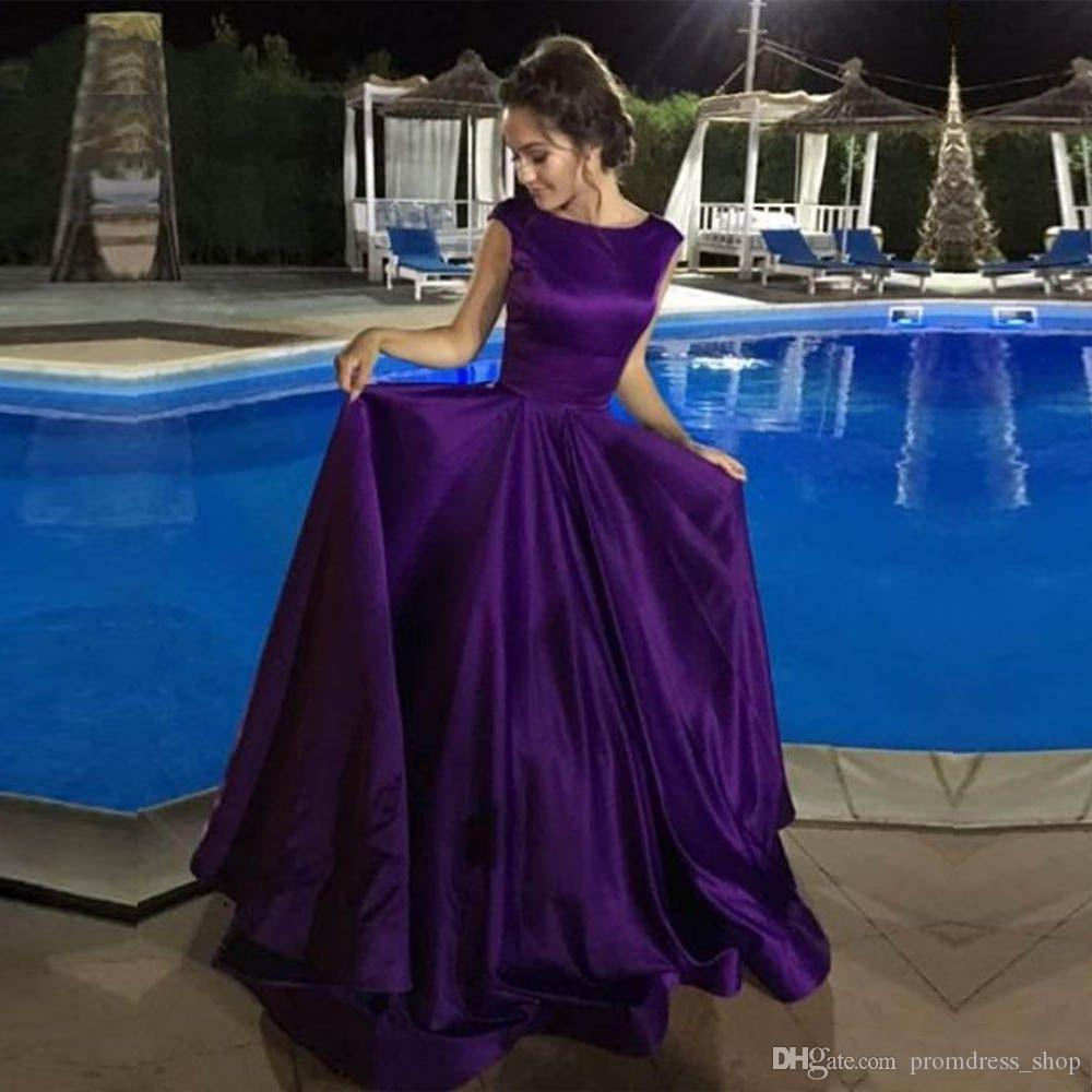 540c99f0a85d 2019 Simple Purple Long Prom Dresses A Line Scoop Neck Satin Lace Up Back  Elegant Evening Gown Women Party Dress Cheap Simple Prom Dresses Yellow  Prom ...