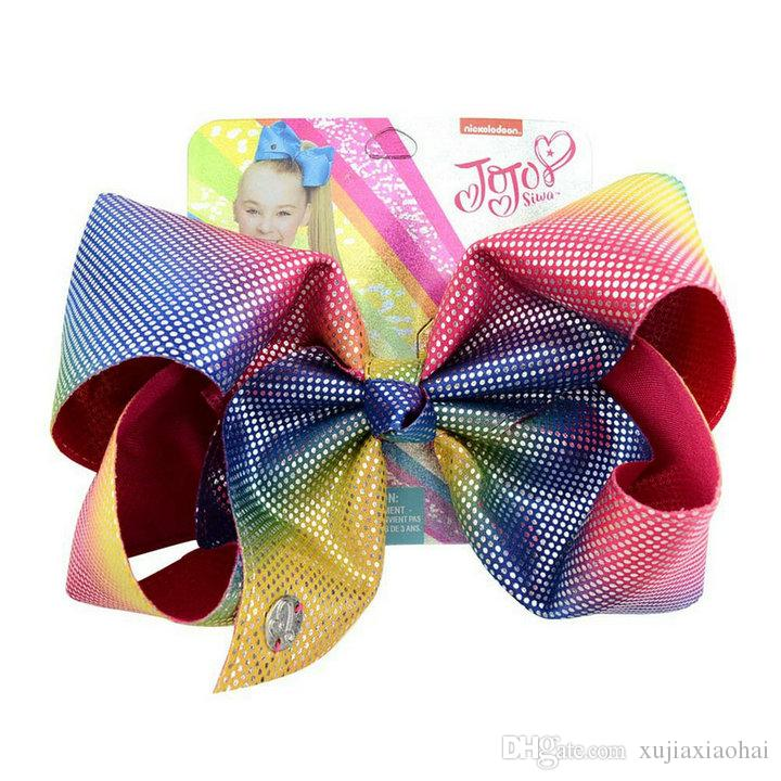 Cute 8 inch JOJO Bow leather laser cloth extra large girl ribbon hairpin children's hair band with cardboard