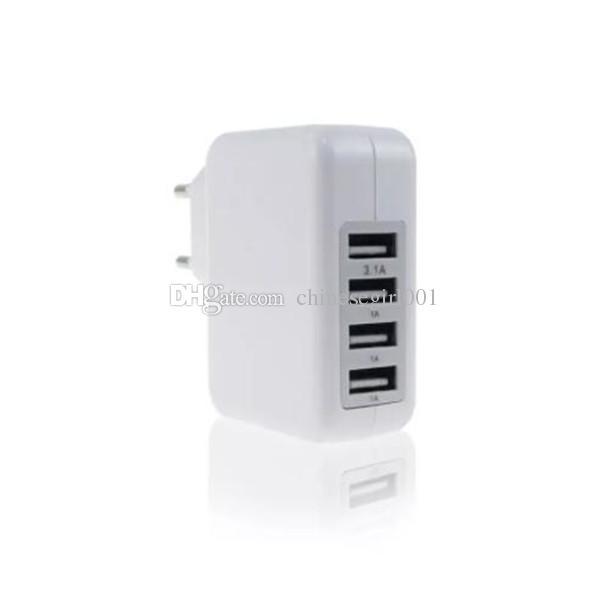 5V 3.1A 4 Puerto USB Cargador de pared Cargador de viaje en casa Adaptador de corriente para iPhone X 6 7 con paquete al por menor