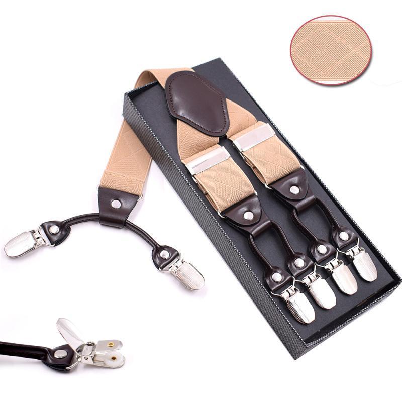 scarpe da skate 100% qualità grande vendita Moda uomo tipo Y 6 clip beige modello Bretelle Bretelle Suspensorio con  scatola cinghia regolabile Cinturino Tirantes Hombre 3.5 * 120 cm