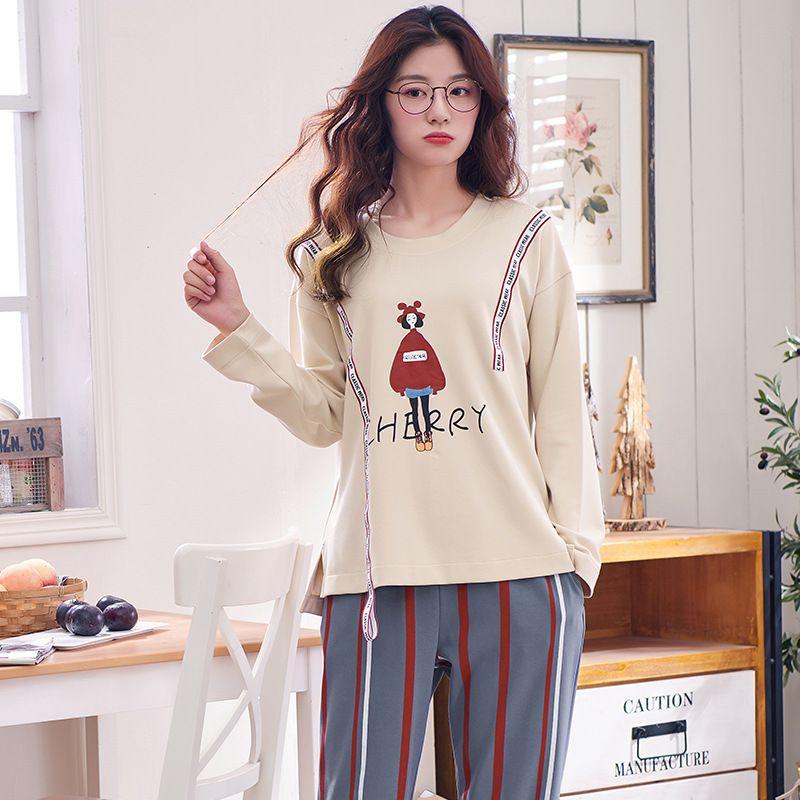 d99080123dd4 2018 Mujeres Pijamas Set Primavera Otoño Nueva Algodón de Dibujos Animados  Impreso manga larga ropa de dormir linda Homewear Pijamas femeninos ...