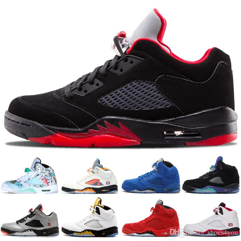 3a80b4b39d23f7 5 5s Wings International Flight Mens Basketball Shoes Red Blue Suede ...