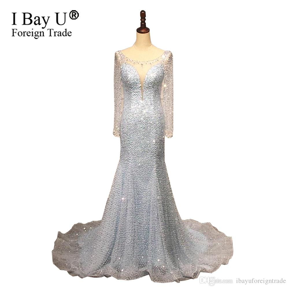 Real Photo Evening Dresses 2019 Sexy Back Crystal Beaded Light Blue