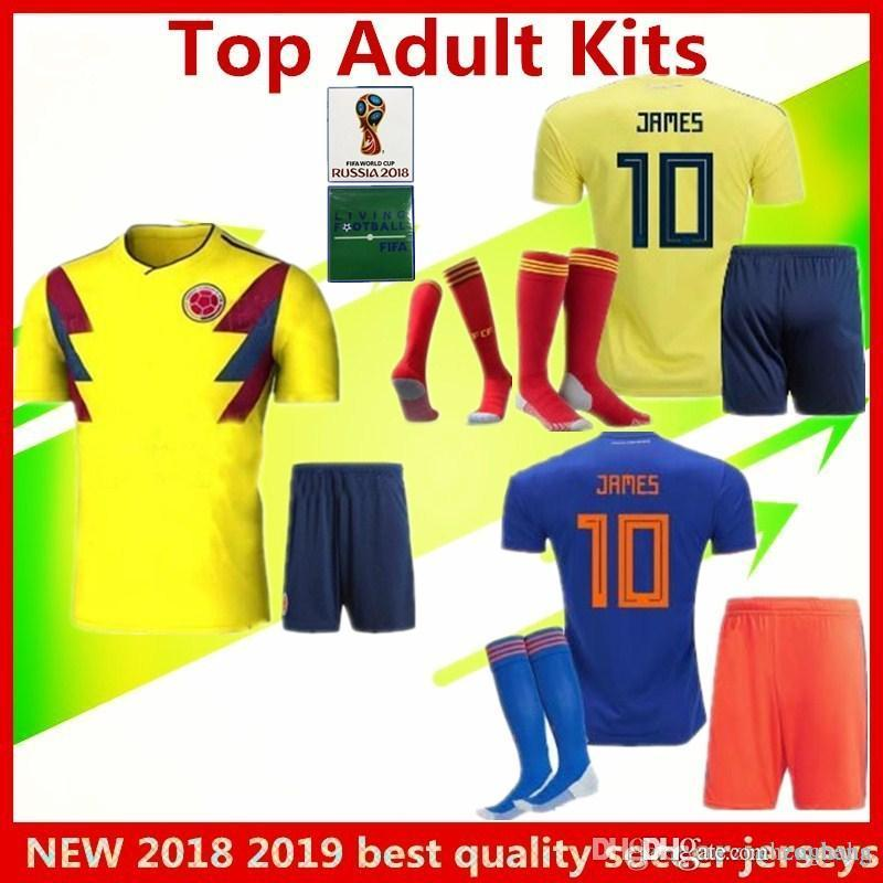 6c502bfeb3c Colombia Football Uniform Adult Suite JAMES Soccer Jerseys 2018 ...