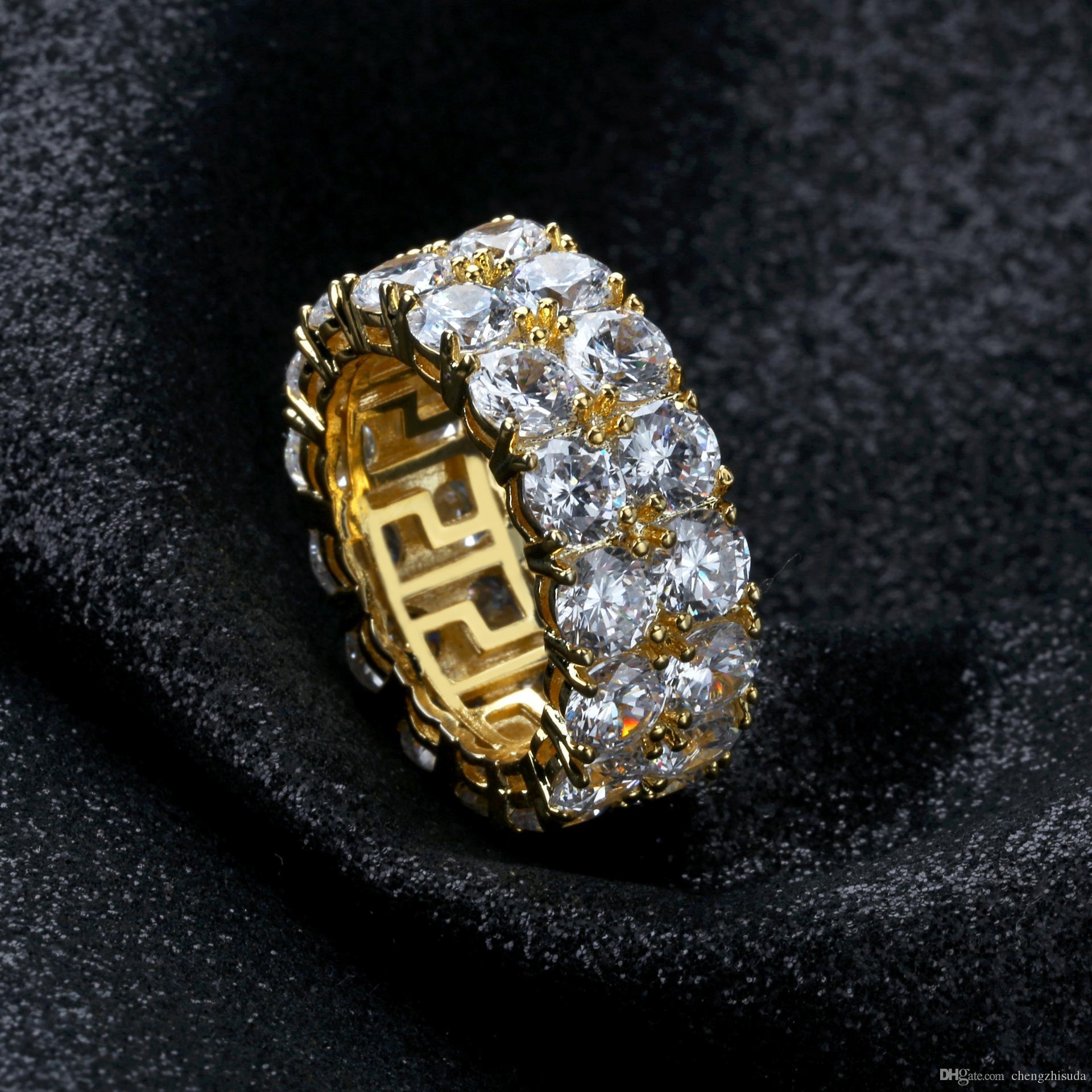 Tamaño 7-12 Hip Hop 2 Row Round Solitaire Zircon Tennis Ring para hombres Mujeres Oro Plata Colores