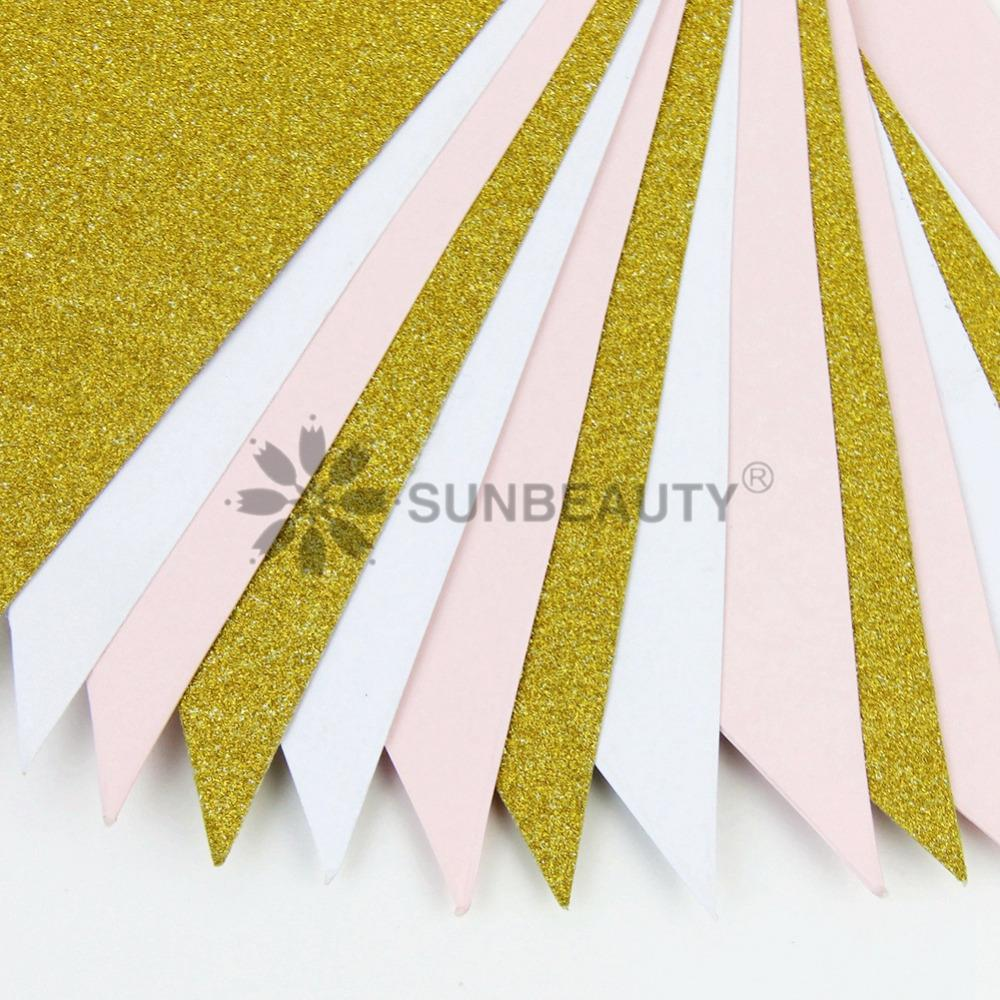 10ft Gold Pink and White Banner Bunting Pennant Garland for Baby Shower Bridal Shower First Birthday Party Decor Photo Backdrop