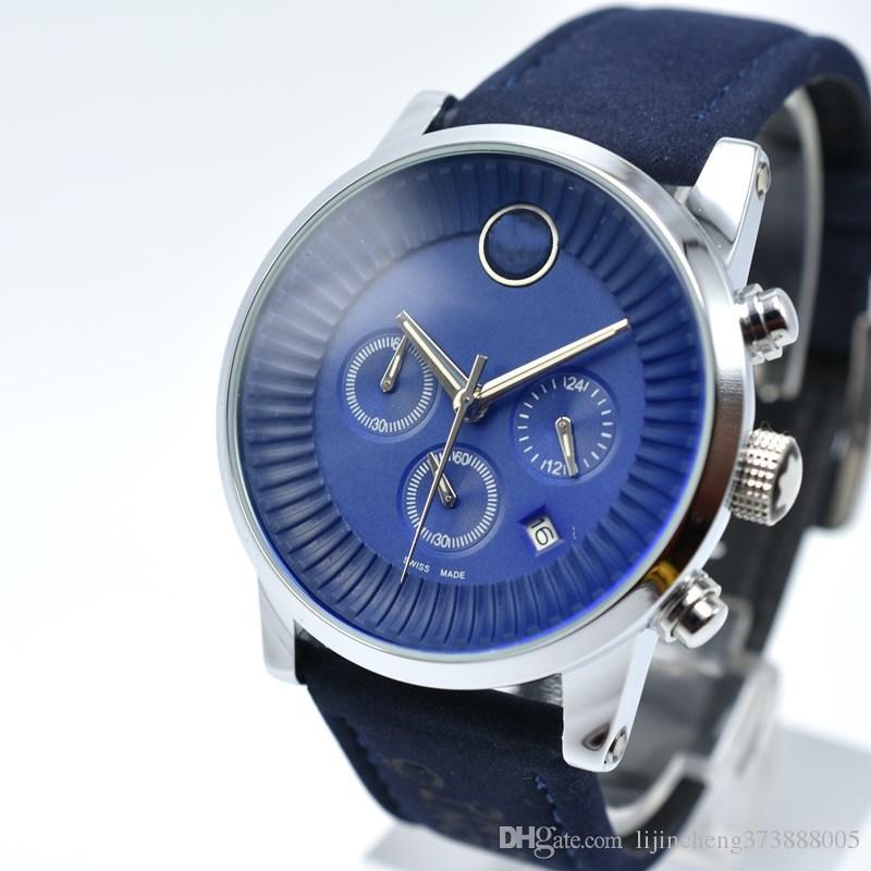 00d04eb2e14 Geneva 42mm Quartz Watch Luxury Brand Men s Leather Fashion Sport ...