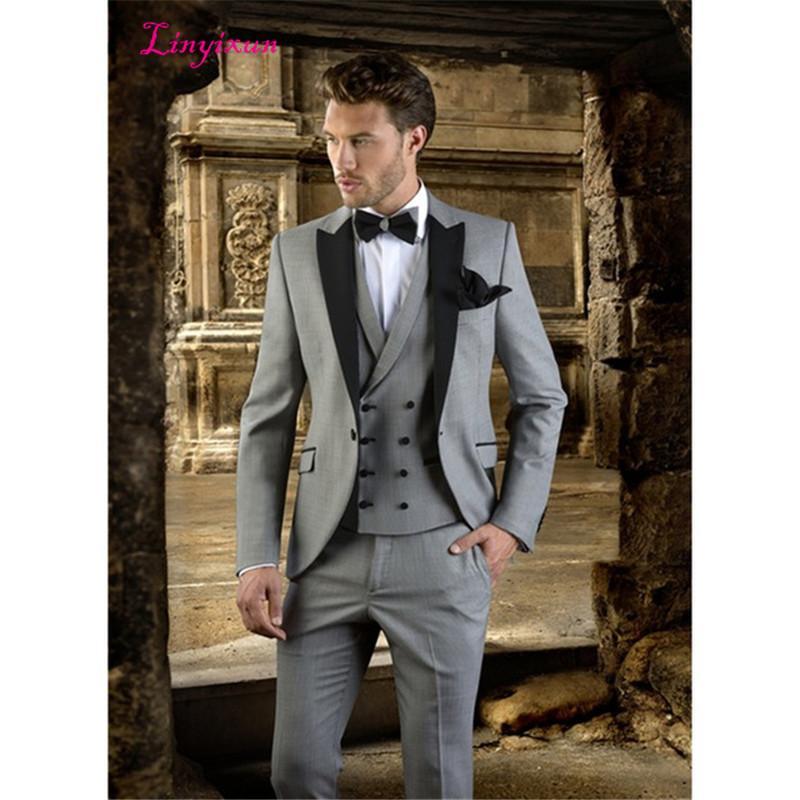 5f5d5110506c Linyixun Grey Men Suit Slim Fit Prom Party Tuxedo slim fit Custom Made  Modern mens Blazer Wedding Groom Suits for men