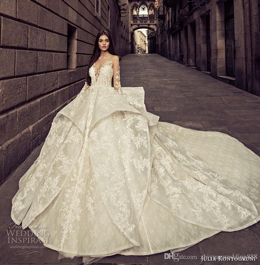Full Embellishment Peplum Princess Long Sleeves Ball Gown